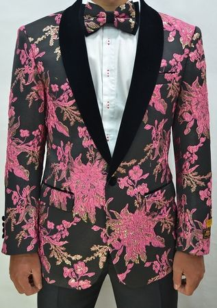 Mens Rose Black Floral Pattern Prom Tuxedo Modern Fit Jacket Alberto Paisley-300