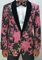 Mens Rose Black Floral Pattern Prom Tuxedo Jacket Alberto Paisley-300