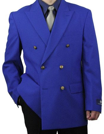 Vittorio Mens Royal Blue Double Breasted Classic Blazer Z76B Size 48R Final Sale