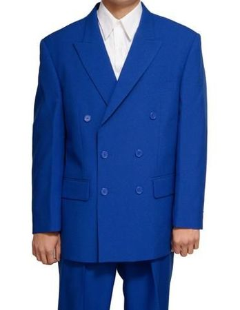 Mens Royal Blue Double Breasted Suit Vittorio Z762TA Size 38L Final Sale - click to enlarge