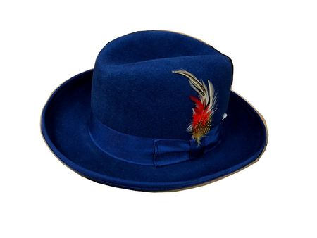 Mens Royal Blue Godfather Hat 100% Wool Homburg 4201