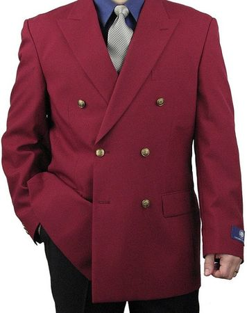 Mens Burgundy Double Breasted Blazer Vittorio Z76B Size 44L Final Sale