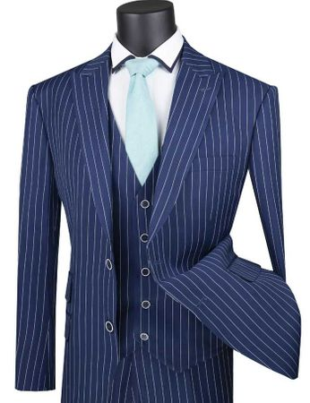 Men's Blue Gangster Stripe Suit with Vest Vinci V2RS-9