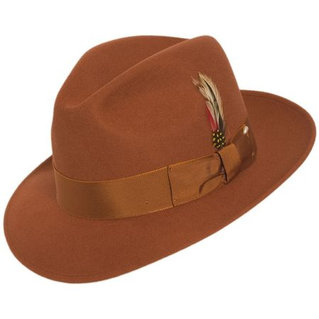 ca91e4b05b8 Mens Rust Fedora Hat 100% Wool Untouchable Dress Hat 8345