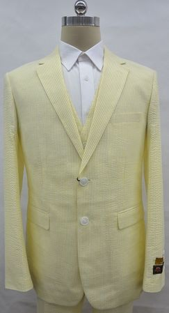 Mens Seersucker Summer Suit Yellow Stripe 3 Piece Alberto 2BV - click to enlarge