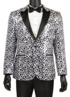 Mens Sequin Entertainer Jacket Silver Leopard Pattern Blazer Vinci BSQ-2 IS