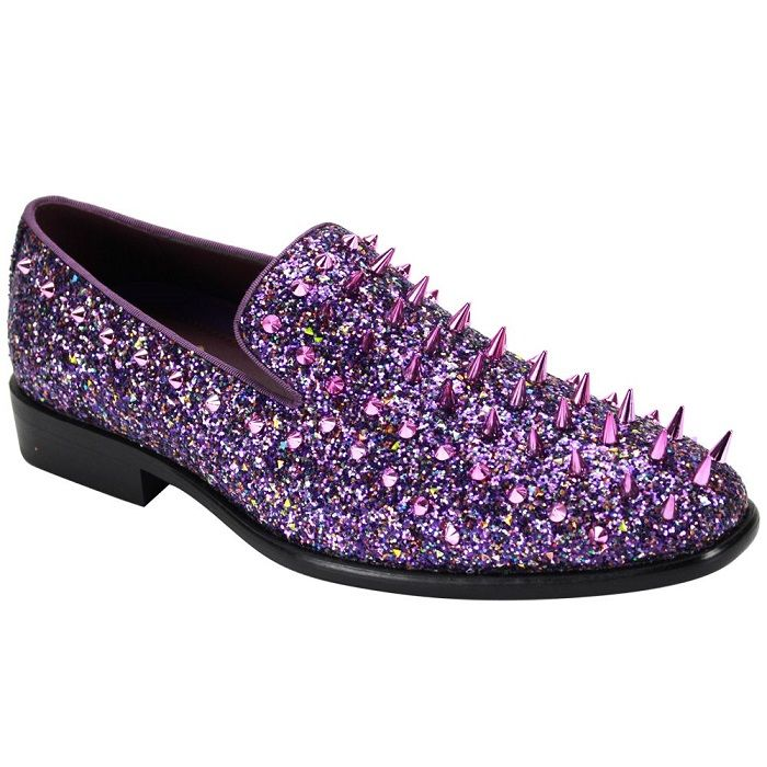 Mens Purple Spiked Prom Shoes Smoking