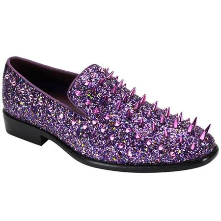 Mens Purple Spiked Prom Shoes Smoking Loafer 6788