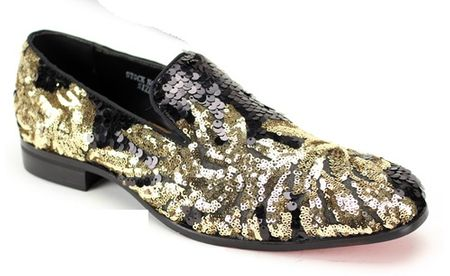Mens Sequin Entertainer Trendy Loafer Black Gold Sequin AM 6733
