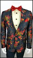 Mens Shiny Black Floral Pattern Fashion Blazer Jacket AM