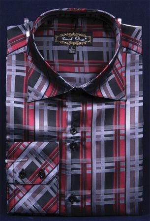 Mens High Collar Fashion Shirts Shiny Burgundy Plaid DE FSS1410