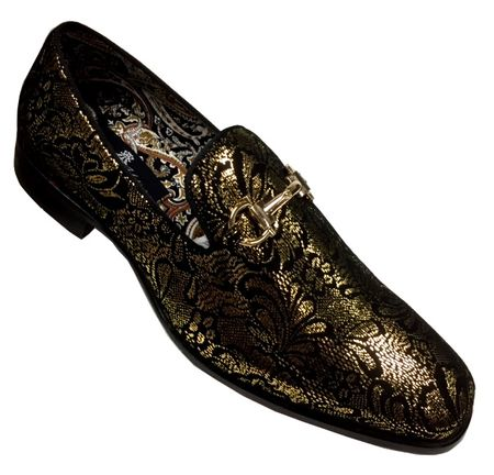 Mens Shiny Gold Paisley Smoker Slip On Entertainer Shoes AM 6682