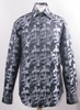 Mens Shiny High Collar Paisley Club Shirt Black FSS1423