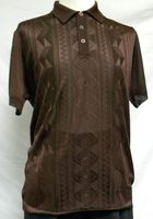 Mens Shiny Knit 1960s Style Brown Casual Shirt by Pronti 6234