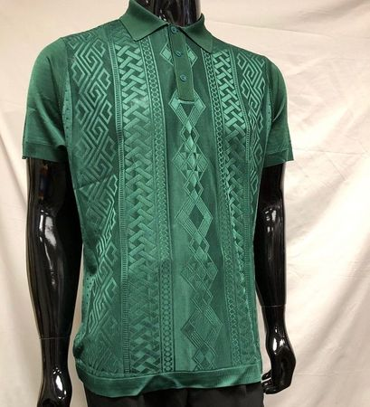 Mens Shiny Knitted 1960s Style Green Casual Shirt by Pronti 6414