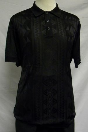 Mens Shiny Knit 1960s Style Casual Shirt by Pronti Black 6234 Size 2XL