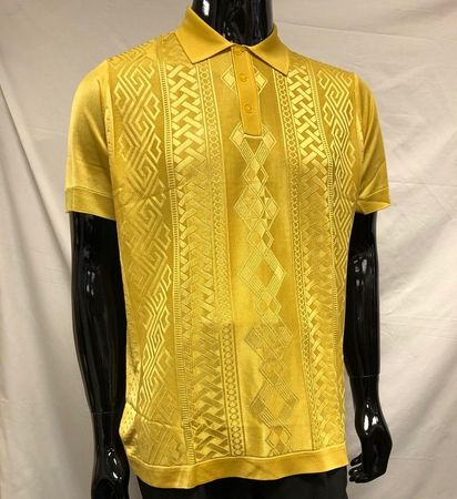 Mens Shiny Knitted 1960s Casual Shirt Pronti Mustard Gold 6414