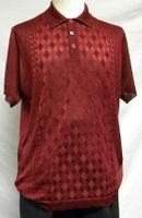 Mens Shiny Knit 1960s Style Casual Shirt by Pronti Burgundy 6235