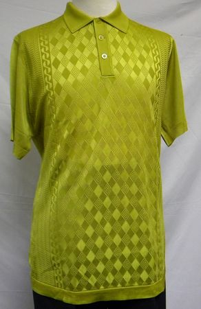 Mens Shiny Knit 1960s Style Casual Shirt by Pronti Gold 6235