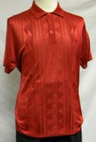 Mens Shiny Knit 1960s Style Casual Shirt by Pronti Red 6234
