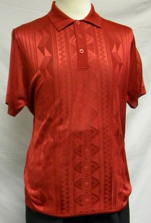 Mens Shiny Knit 1960s Style Casual Shirt by Pronti Red 6234 Size XL