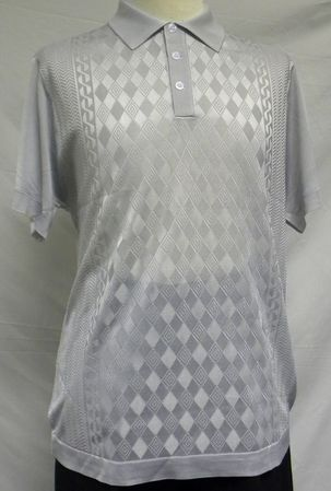 Mens Shiny Knit 1960s Style Silver Grey Casual Shirt by Pronti 6235