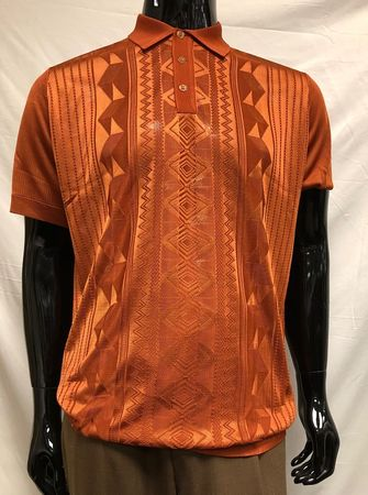 Mens Shiny Knit Rust Polo Shirt Short Sleeve Pronti K6234 Size L, XL