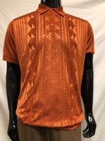 Mens Shiny Knit Rust Polo Shirt Short Sleeve Pronti K6234