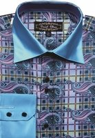 Mens High Collar Shirts Teal DE Bold Pattern FSS1406