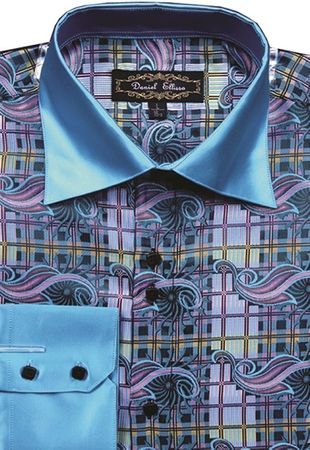 Mens High Collar Shirts Teal DE Bold Pattern FSS1406  - click to enlarge