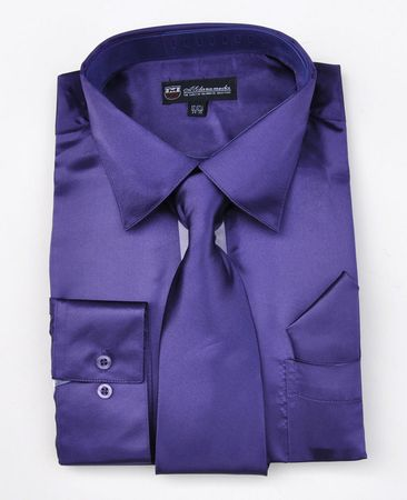 Mens Shiny Purple Satin Dress Shirt Tie Set Milano SG08