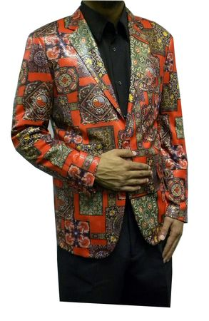 Pronti Mens Fancy Style Blazers Red Pattern B6195 Final Sale - click to enlarge