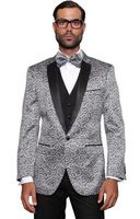 Mens Shiny Silver Stage Performer Suit Sequin Paisley-200 3pc