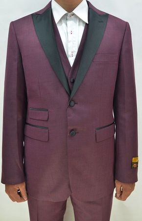 Burgundy Color Tuxedo Mens 3 Piece Modern Fit Alberto Stage