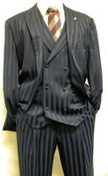 Mens Blue Shiny Stripe Dress Suit by Falcone Mat Vested 380-102 OS