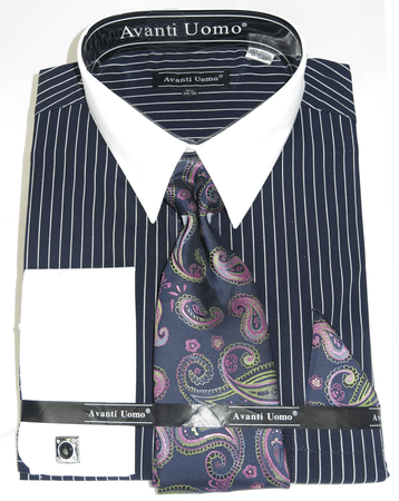 Mens Shirt and Tie Set Navy Blue Stripe White Collar Avanti DN84M - click to enlarge
