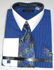 Mens Shirt and Tie Set Royal Blue Stripe White Collar Avanti DN84