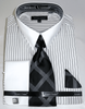 Mens Shirt and Tie Set White Black Stripe White Collar Avanti DN84