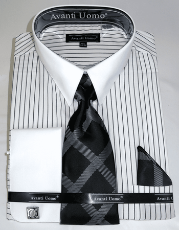 Mens Shirt and Tie Set White Black Stripe White Collar Avanti DN84 - click to enlarge