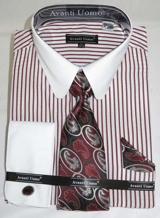 Mens Shirt Tie Set Burgundy Banker Stripe Rounded Collar Avanti DN80M - click to enlarge