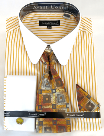 Mens Shirt Tie Sets Mustard Banker Stripe Round Collar Avanti DN80M - click to enlarge