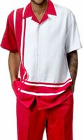 Mens Short Set by Montique Red White Panel 177