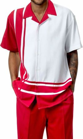 Mens Short Set by Montique Red White Panel 177 - click to enlarge