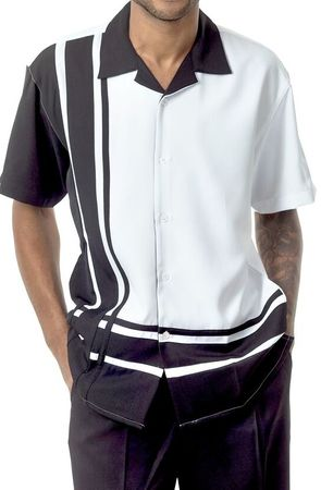 Mens Short Sets by Montique Black Bowling Panel 7877 - click to enlarge