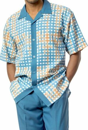 Mens Short Sets by Montique Blue Geo Plaid 730 - click to enlarge