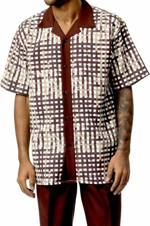Mens Short Sets by Montique Brown Geo Plaid 730