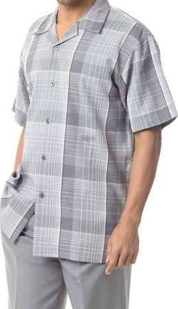 Mens Short Sets by Montique Grey Bold Plaid 741