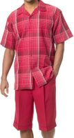 Mens Short Sets by Montique Red Bold Plaid 741