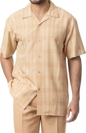 Mens Short Sets by Montique Tan Woven 135 Size M/33