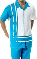 Mens Short Sets by Montique Teal White Panel 177
